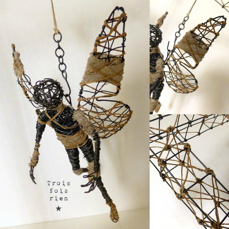 J'ai jamais eu les pieds sur terre Grue fil de fer, homme papillon fil de fer, ficelle, lin, semelle bois 2