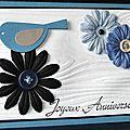 Chasse aux oeufs ... des consignes ... des fleurs ... un oiseau ... une carte d'anniversaire en bleu et blanc !