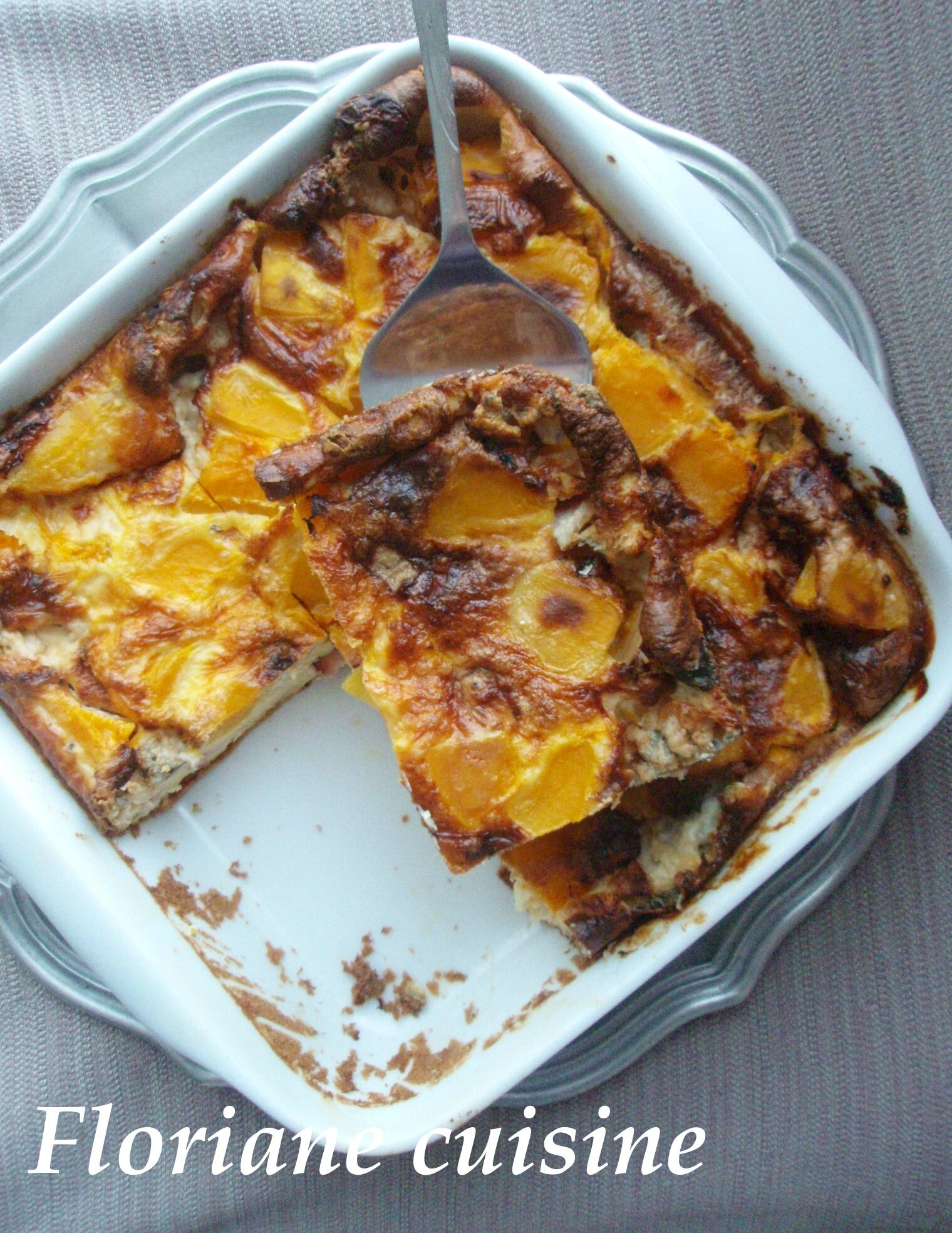 Clafoutis à la butternut, fourme d'ambert et bacon