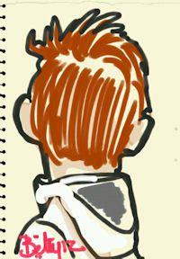 caricature tablette numerique enfant de dos