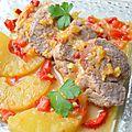 Filet mignon de porc à l'ananas, poivron et gingembre
