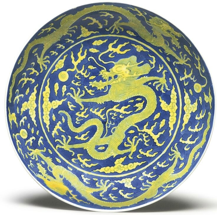 An underglaze blue-ground and yellow-enameled 'Dragon' dish, Daoguang seal mark and period