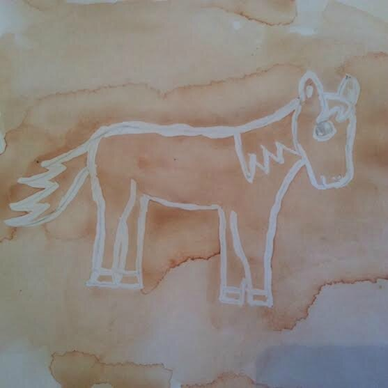 "Cheval marron avec de la ""drawing gum"""