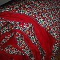Plaid julie en liberty d'anjo rouge, dos coton rouge et passepoil rouge hermes