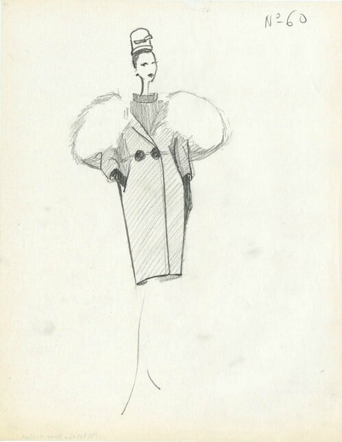 Balenciaga illustration of Fall 1957 collection