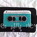 étui cassette turquoise
