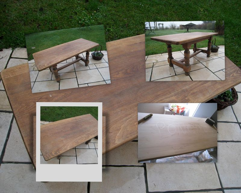 Transformation d 39 une vieille table basse en bois massif patines c - Comment transformer une palette en table basse ...