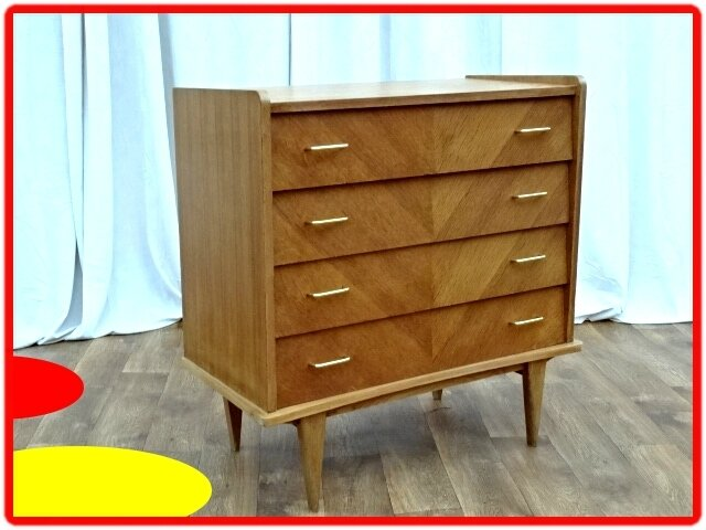 COMMODE VINTAGE PIEDS FUSELES 1960