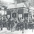 William Hammer and others at Edison Phonograph exhibit at the 1889 Paris Exhibition