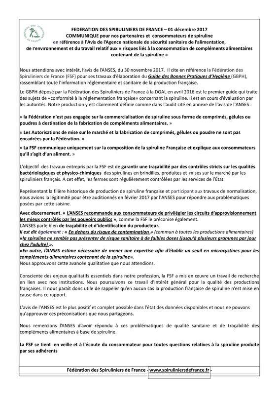 Communique suite avis ANSES 1er dec 2017