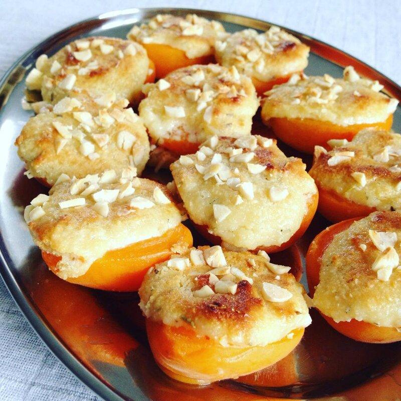 Abricots fourrés au mascarpone & amandes