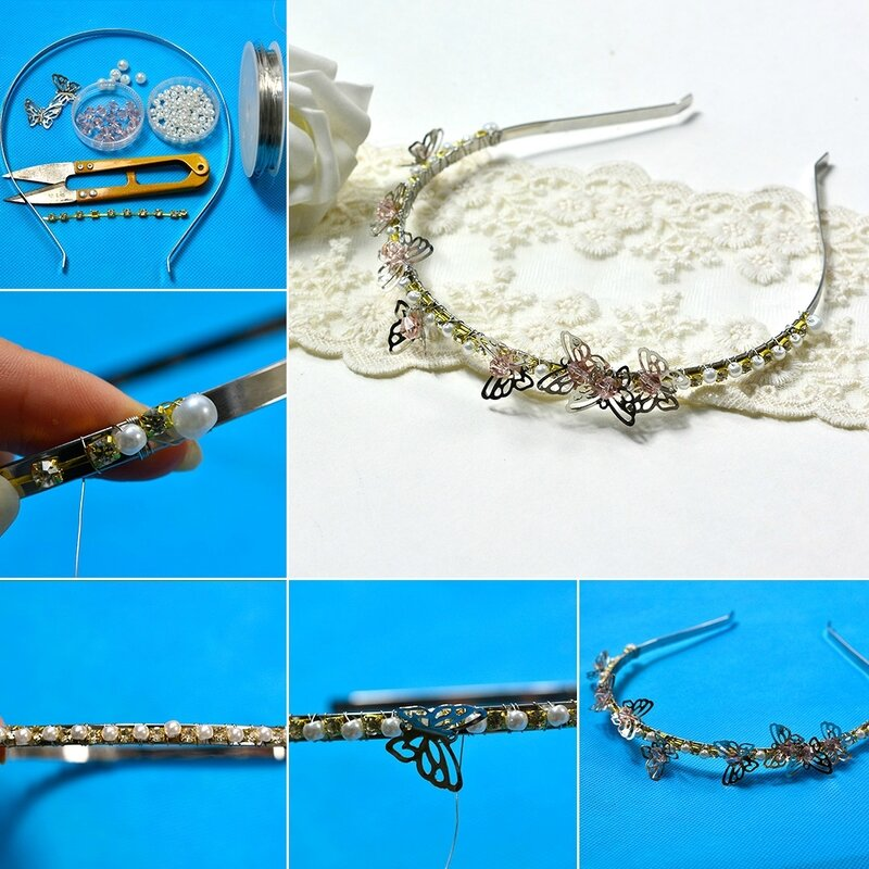 1080-Glass Pearl Bead Hair band with butterflies