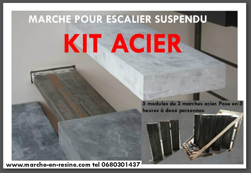 Marche En Resine Pour Escalier Exterieur, Escalier Suspendu, Floating  Stairs, Floating Staircase, Resin Steps,