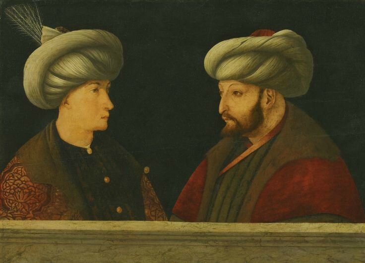 Workshop of Gentile Bellini (Venice 1429 (?) - 1507), Portrait of Sultan Mehmed II with a young dignitary