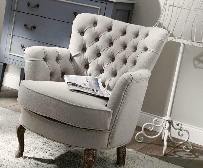 fauteuil capitonné lin Amadeus