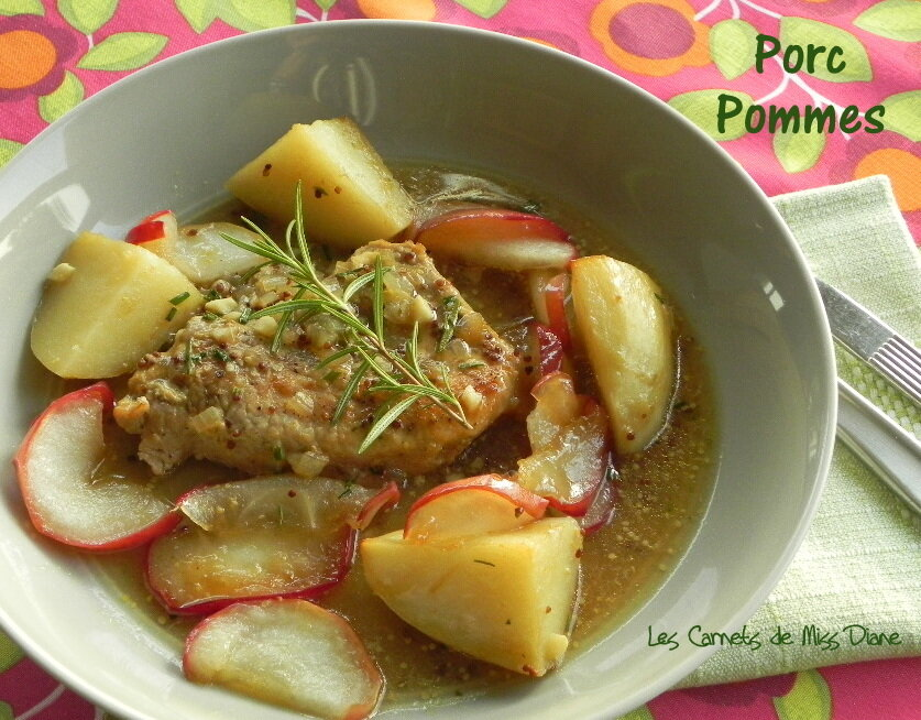 Côtelettes de porc aux pommes, sans gluten et sans lactose