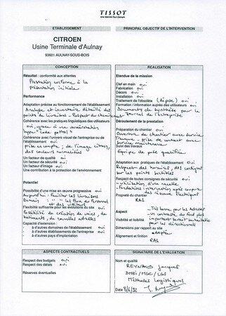 1992 François-Noël TISSOT Une Identité Pour Demain ® Aulnay-sous-Bois PSA CITROEN Validation Qualité par les Méthodes Logistiques de la conception et du déploiement du Plan d'Ensemble Signalétique