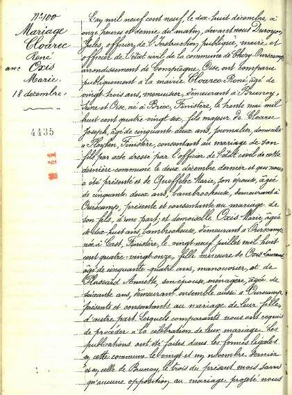 1909 le 18 décembre M René CLOAREC et Marie OXIS à Ourscamp_1