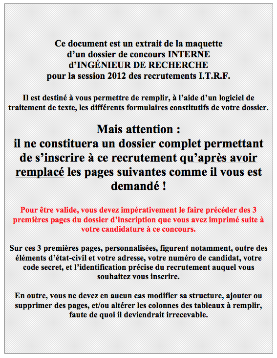 Concours itrf cnrs