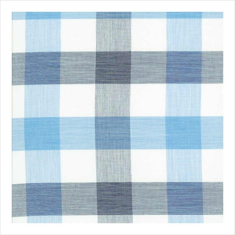 Coton et soie carreaux bleu/gris/blanc