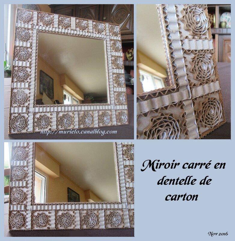 Miroir carré en dentelle de carton