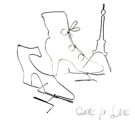 figurines_fil de fer_soulier_bottines_paris_tour_eiffel_creation_Dame la Lune