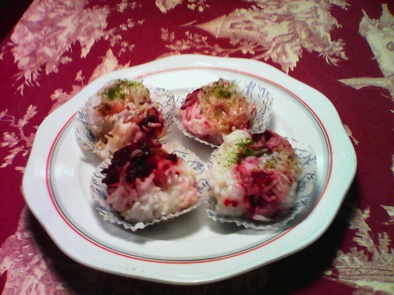 boulettes de riz betteraves saumon