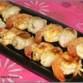 Brochettes de crevettes aux litchis