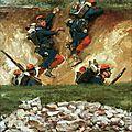 Detaille et De Neuville, Panorama de Champigny, soldats du 122 dans un chemin creux