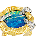 An oval opal and diamond ring, by andrew grima