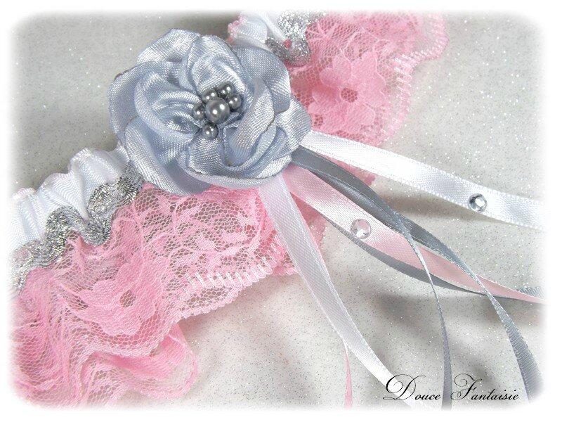 Jarretière mariée dentelle rose blanc gris