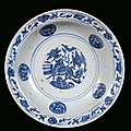 A blue and white porcelain plate decorated with azure monochrome, China, Ming Dynasty, 16th century