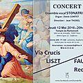 Requiem de fauré et via crucis de liszt jeudi 12 mai, paris 7e