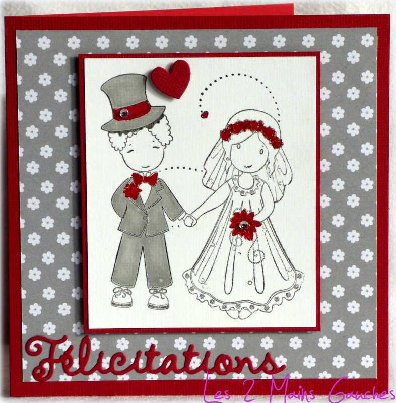 un adorable couple de mari s une carte de f licitations de mariage en rouge blanc et gris. Black Bedroom Furniture Sets. Home Design Ideas