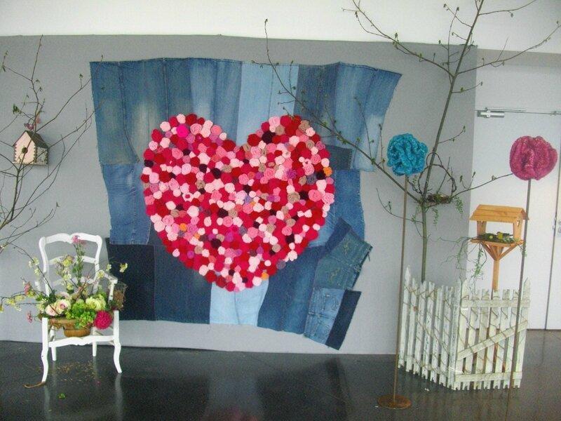 pour l'amour du fil fleur crocher coeur crochet panneau jean vintage