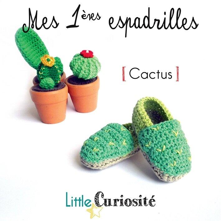 Chaussons bébé Naissance - Mes 1ères espadrilles Cactus, au crochet - Handmade in France - modèle original© - Little Curiosité