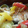 Darnes de merlu à l'ail et aux poivrons