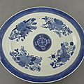 Chinese blue and white fitzhugh massive meatdish, jiaqing period, circa 1800