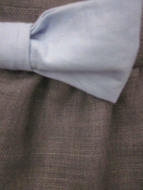 Robe ADELE en lin gris avec noeud de lin ciel - taille 36 (6)
