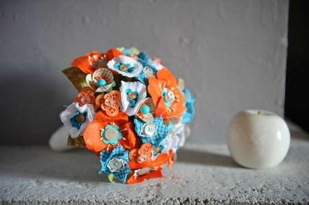 @bouquet orange et bleu skull 1