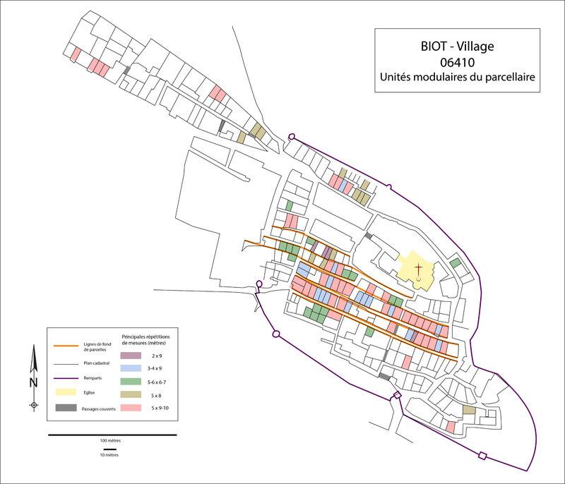 Fig. 6 : Unités modulaires du parcellaire au XVe siècle