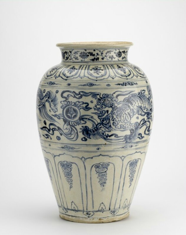 Large baluster form jar painted with three Buddhist lion-dogs chasing brocade ball in underglaze blue. Probably Chu Dau kilns, Red River Delta, northern Vietnam, 1440-1460, stoneware. Height: 52.5 centimetres. Brooke Sewell Permanent Fund. Purchased from E