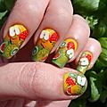 Nail art Tutti fruty avec dégradé a l'éponge, konad et fimo