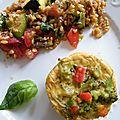 Clafoutis miso, brocoli & poivron et salade de petit épeautre