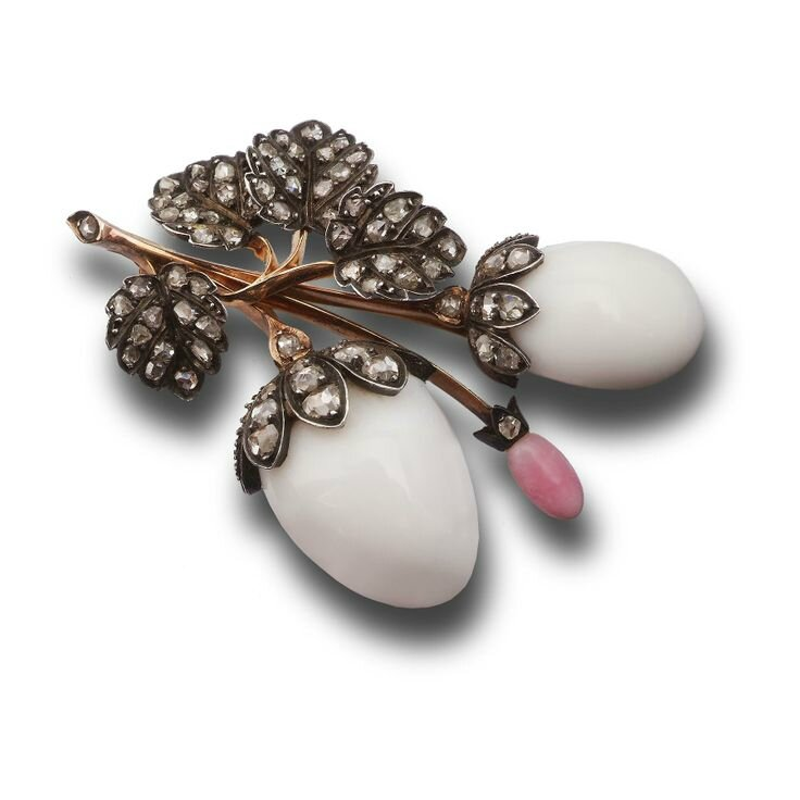 A conch pearl and diamond brooch, English, circa 1880