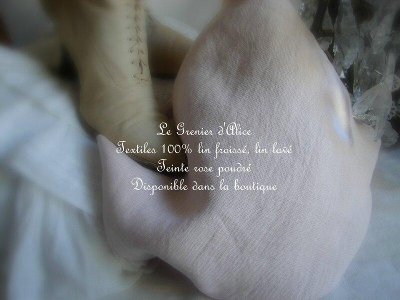 Tissu 100% lin froissé, lin lavé, teinte rose poudré, shabby chic décoration de charme décoration romantique boutique le grenier d'alice