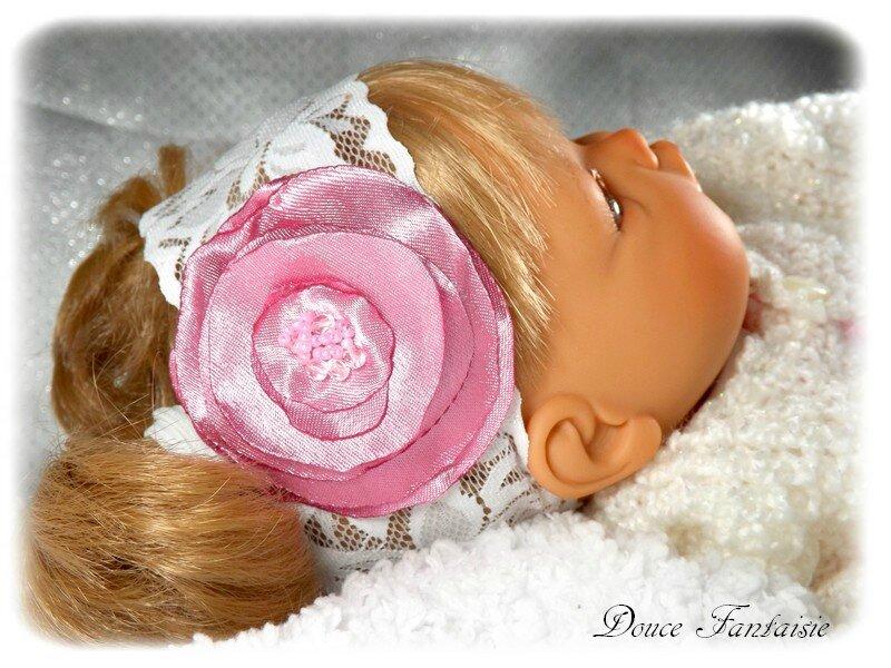 Bandeau bébé blanc rose