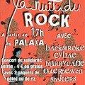 Affiche du concert rock de solidarité La nuit du rock (en rouge)