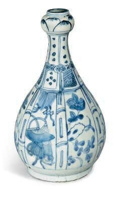 A Chinese blue and white garlic-head vase, Wanli period (1573-1619)