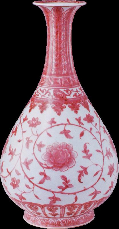 Vase yuhuchun, rouge sous couverte, décor de fleurs de lotus et tiges entrelaçées, Dynastie Qing, période Kangxi, Pékin, Musée de la Cité interdite © The Palace Museum